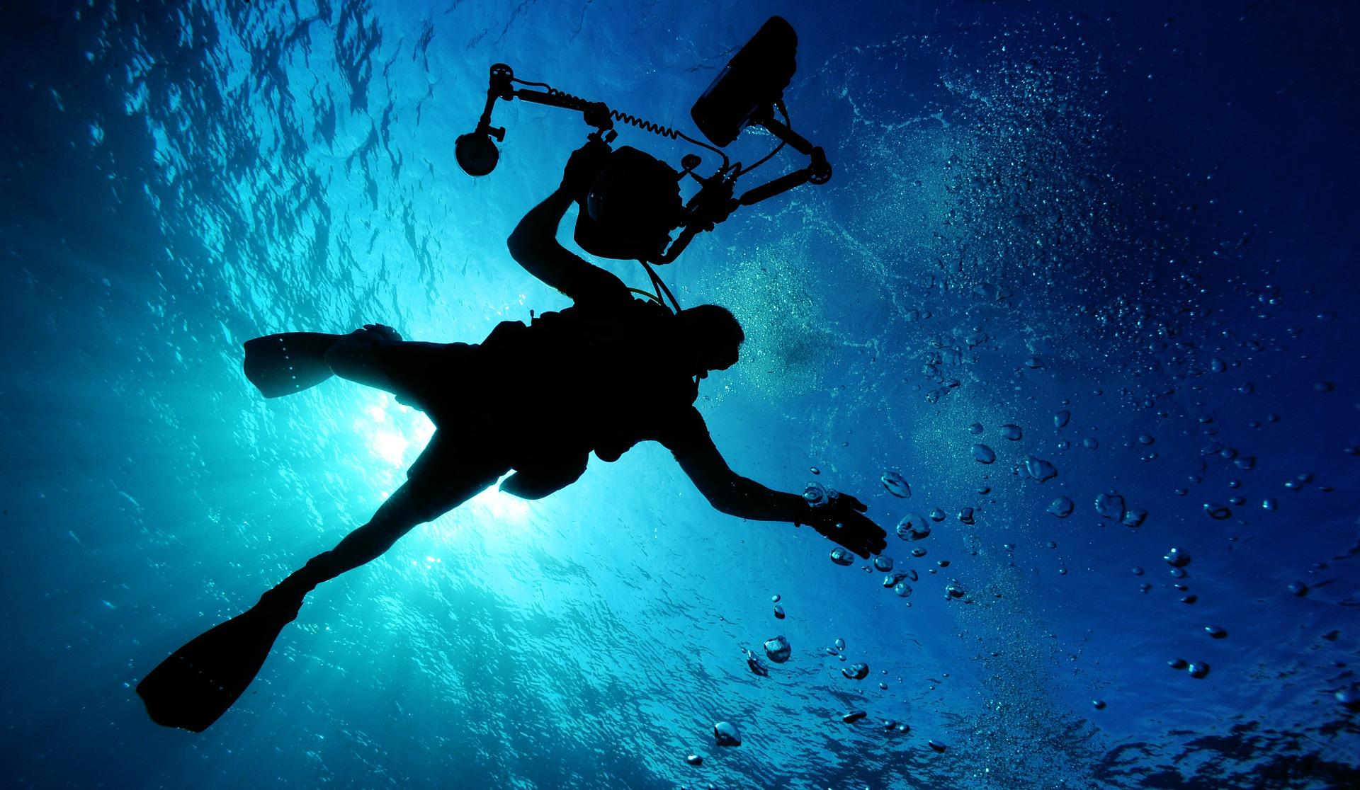 Selbst am Tag ist es im tieferen Wasser ohne Taucherlampe dunkel